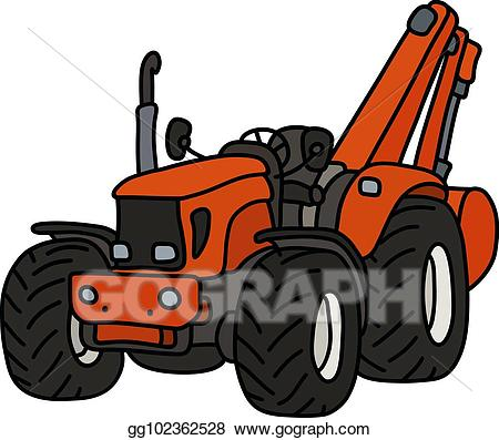 Orange tractor. Vector illustration the with