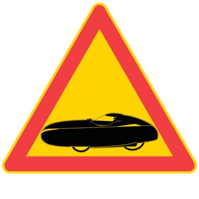 Orange velomobile. Traffic sign samsung galaxy