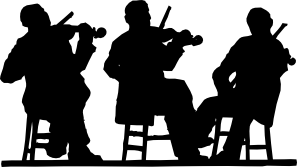 Orchestra clipart silhouette. Fiddlers in clip art
