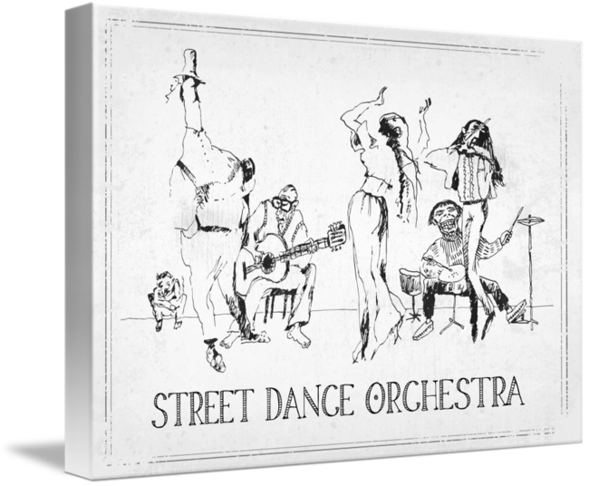 Orchestra drawing cool. Street dance by blacklinewhite