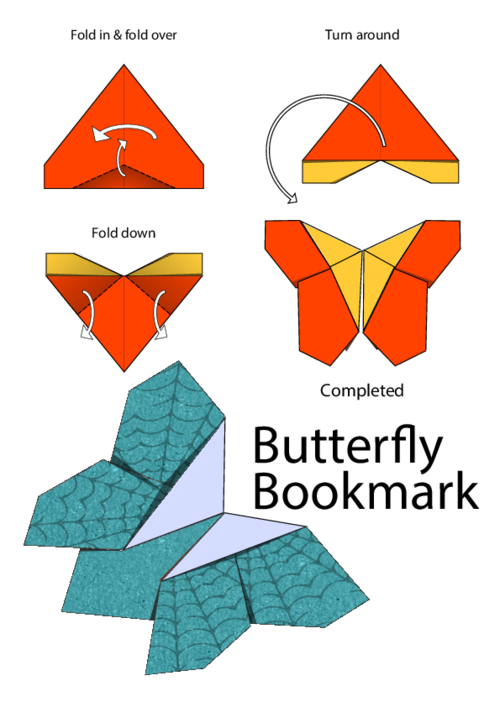 Origami koala png. Butterfly bookmark for mum