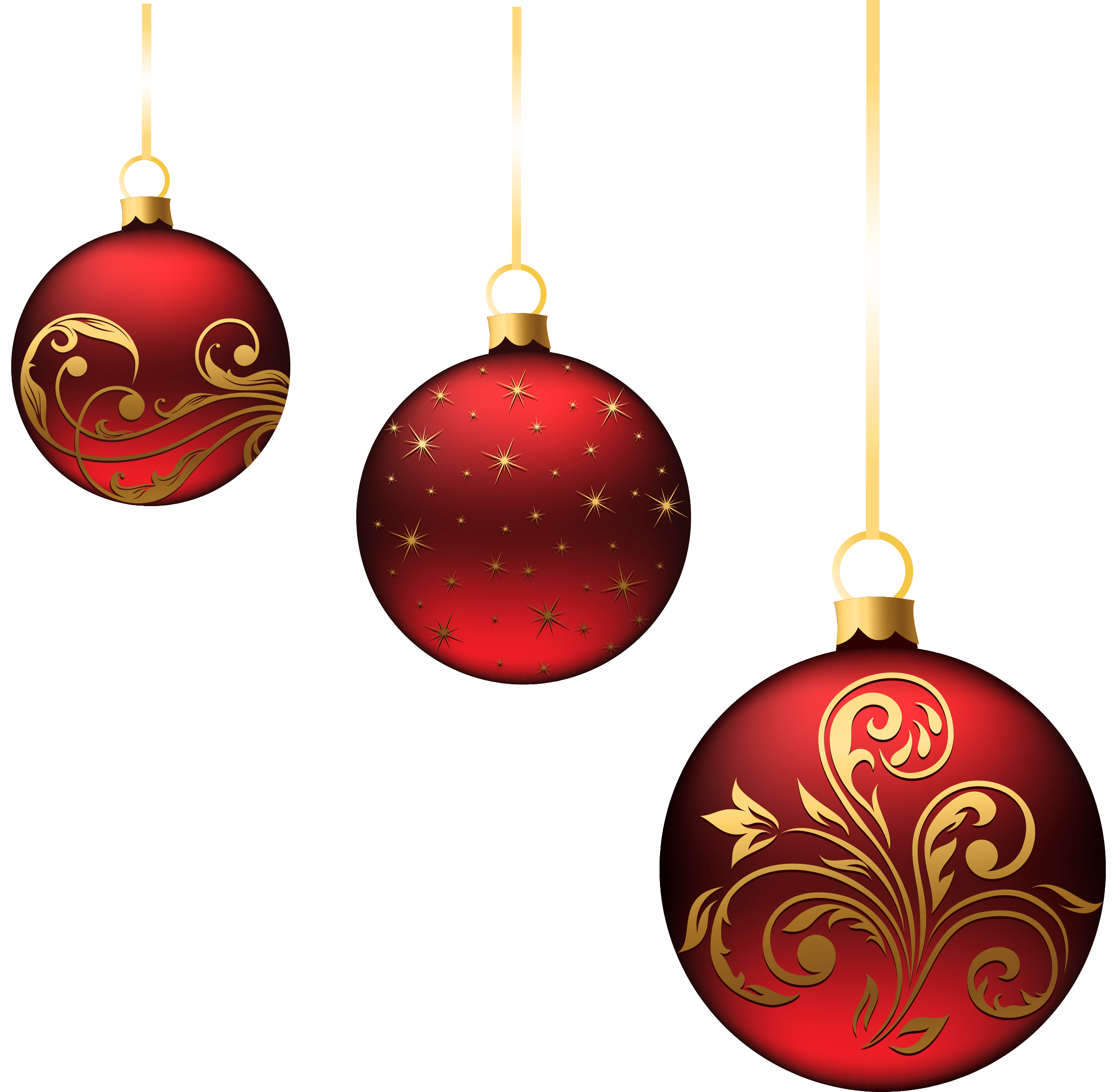 Red ornaments png. Christmas balls min