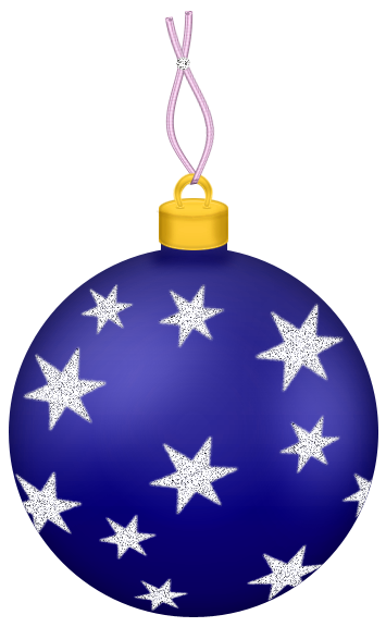 Ornament transparent ball. Blue christmas with stars