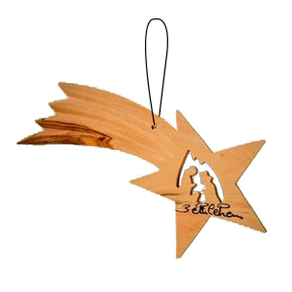 Ornament transparent book. Shooting star with nativity