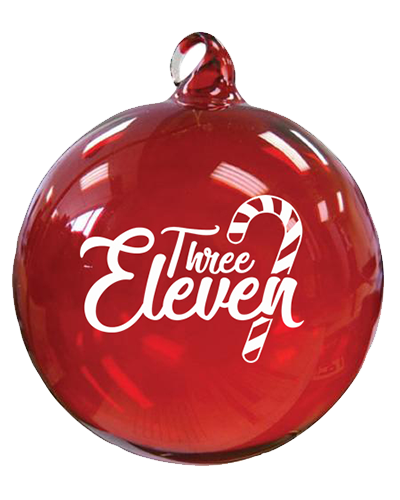 Ornament transparent three. Eleven red the store