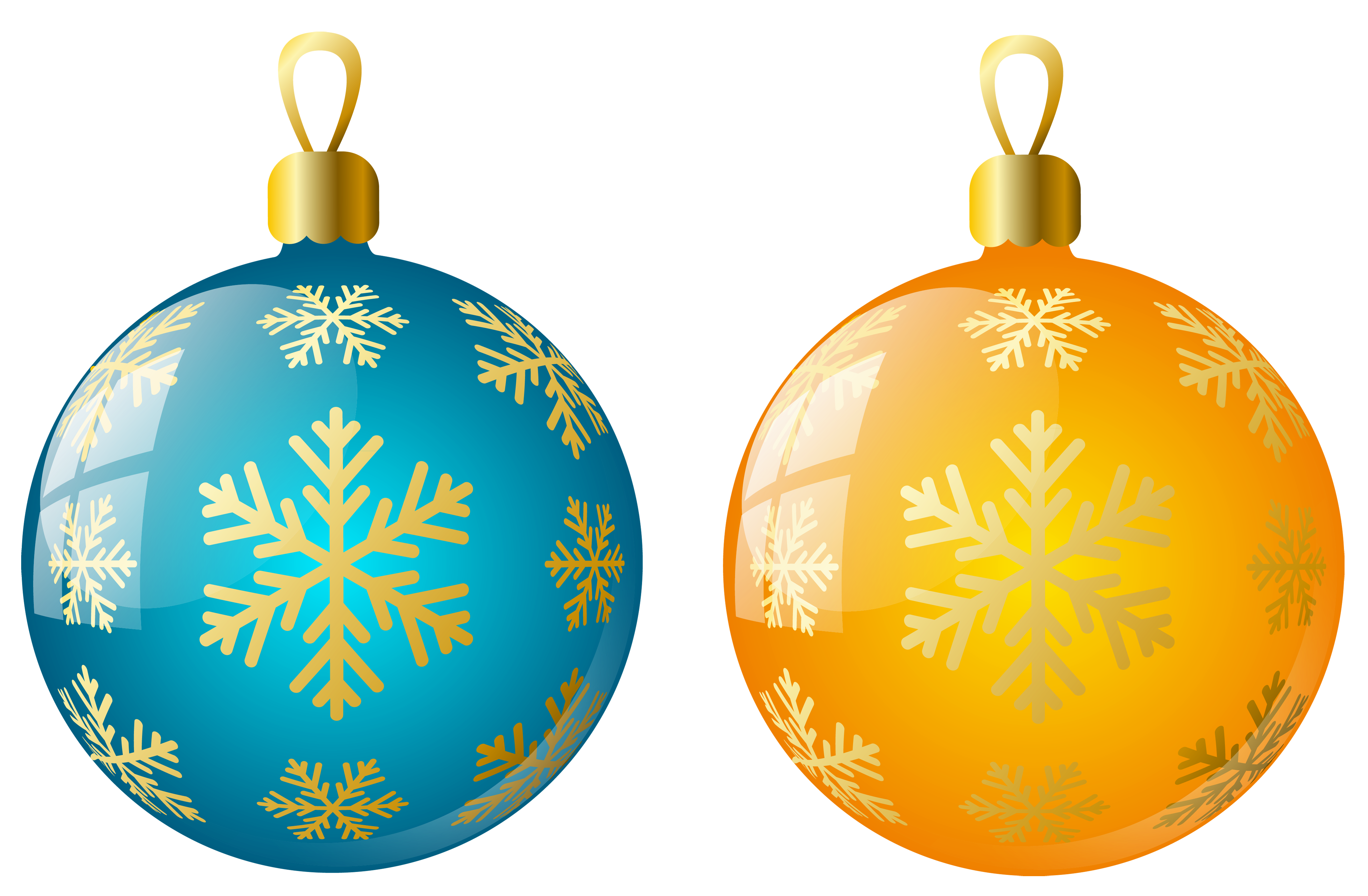 Yellow christmas ornaments png. Large size transparent and
