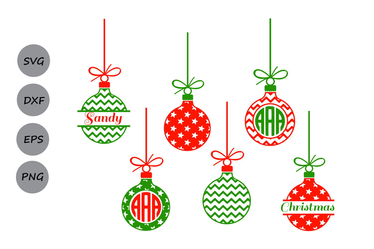 Ornaments clipart svg. Christmas orna design bundles