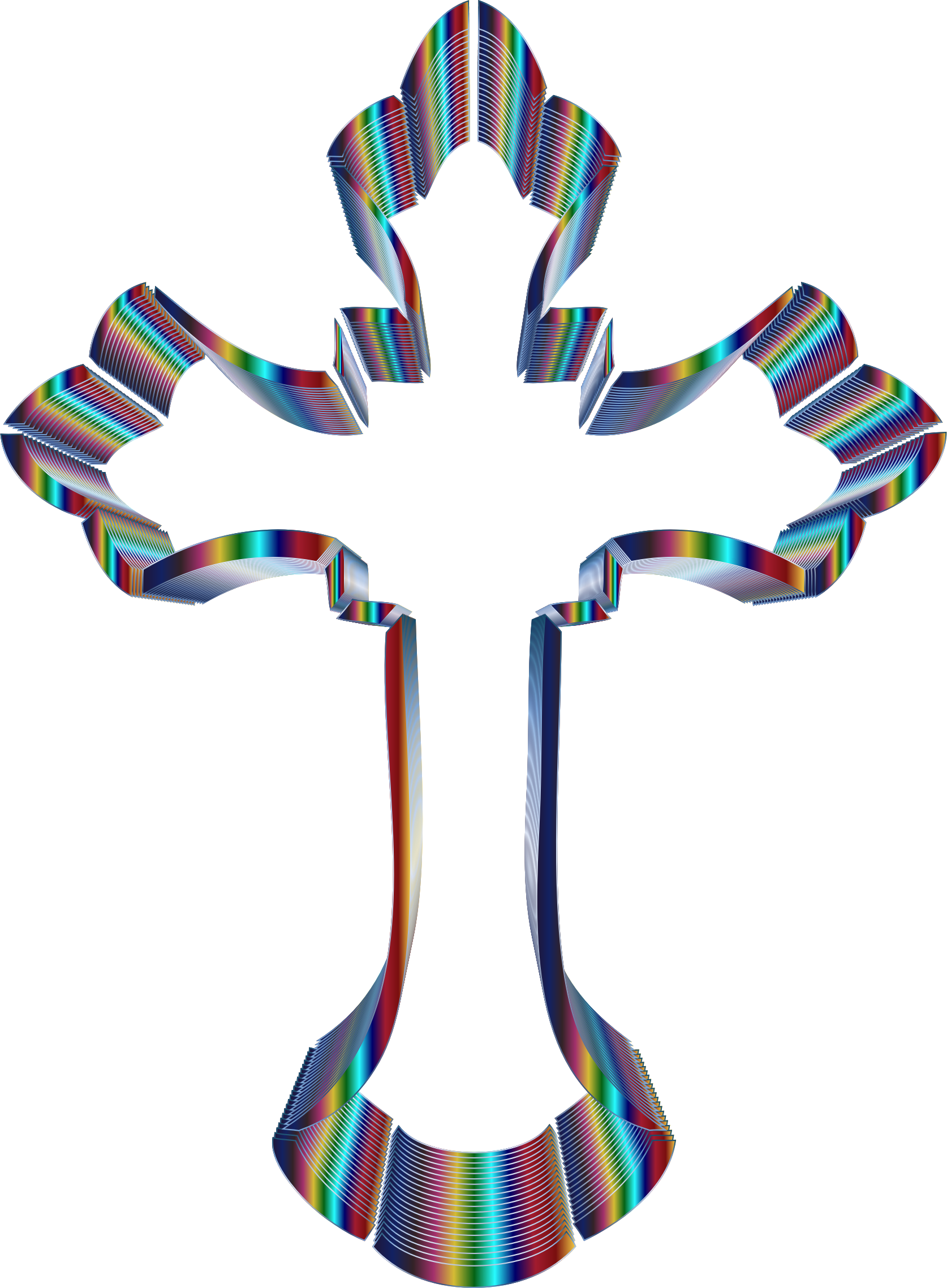 Ornate cross png. Clipart iridescent no background