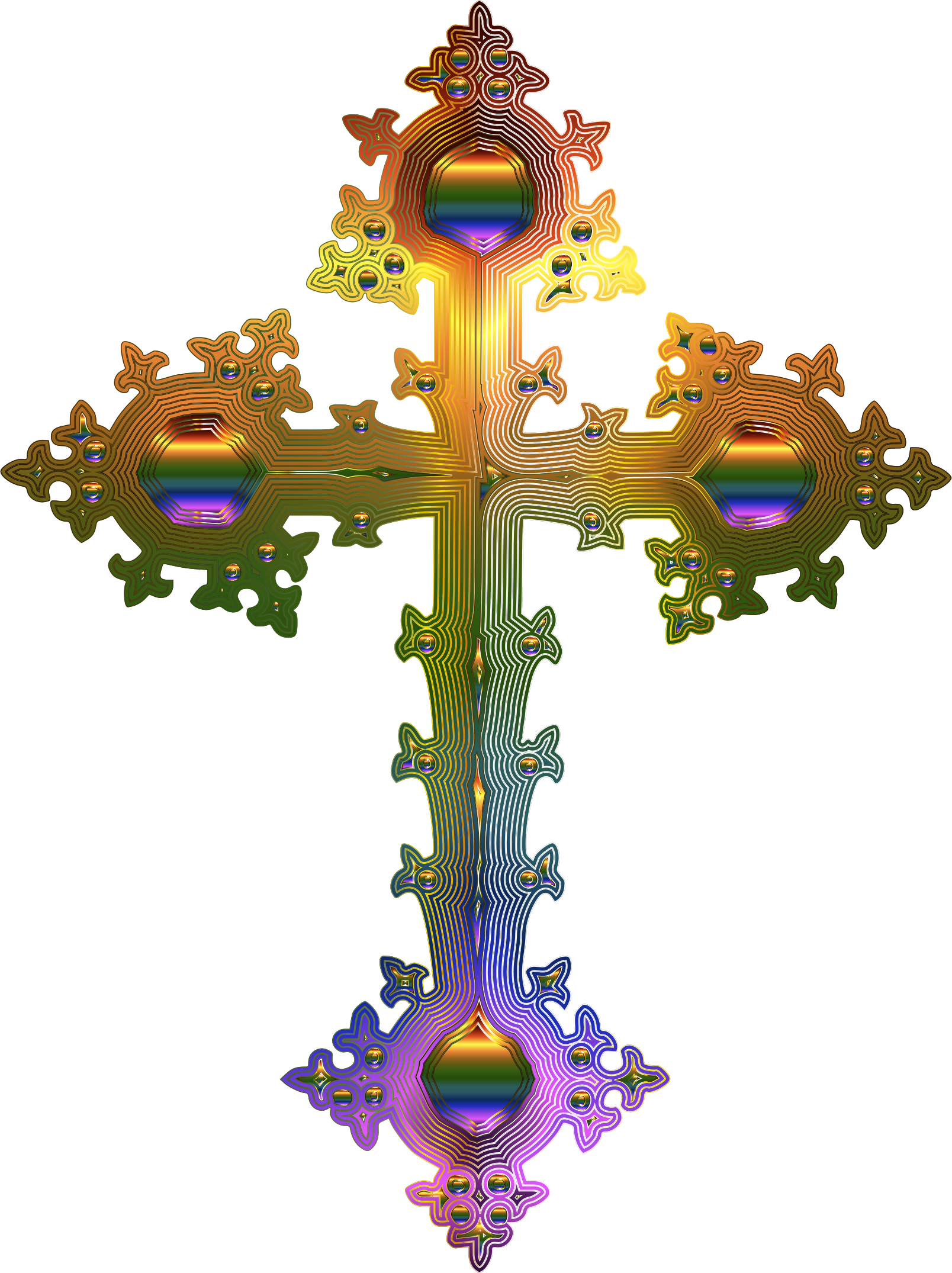 Ornate cross png. Clipart prismatic no background