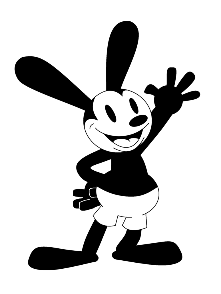 Oswald the lucky rabbit png. Black and white by