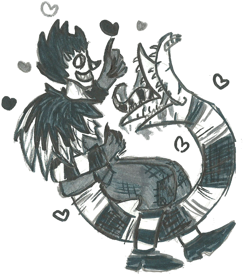 Ouroboros drawing beetlejuice sandworm. Laughing jack the tailmouth