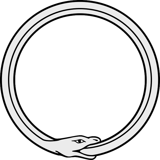 Ouroboros drawing celtic knot. Snake simple symbol circle