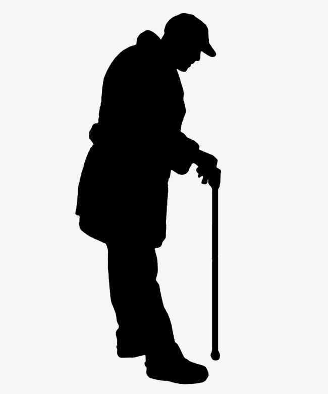Out clipart lonely old man. On crutches silhouette sketch