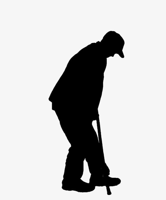 Out clipart lonely old man. On crutches silhouette people