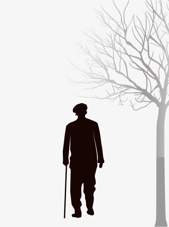 Out clipart lonely old man. Late autumn on crutches