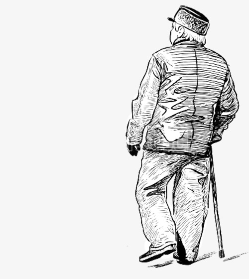 Out clipart lonely old man. Pencil sketch s back
