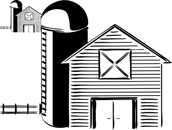 Outdoor drawing barn silo. And clip art at