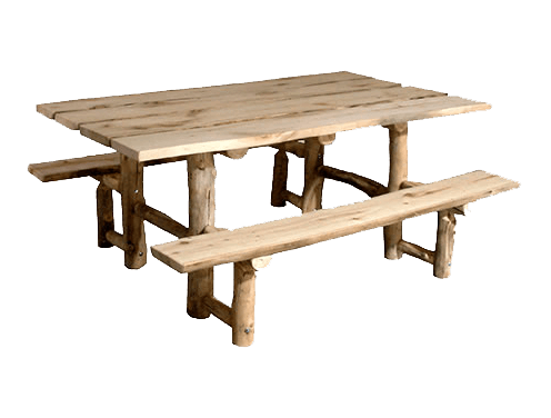 Outdoor table png. Aspen log picnic with