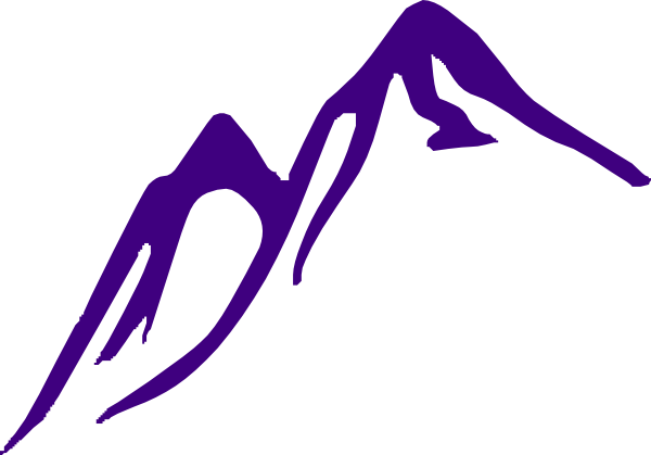 Skier drawing mountain slope. Purple clip art at