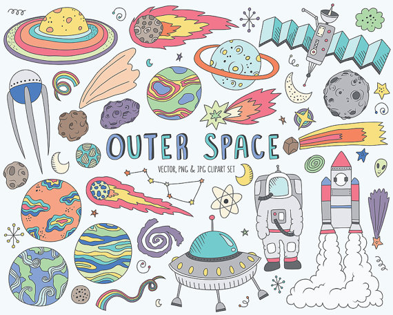 Outer clipart cute house. Space doodles clip art