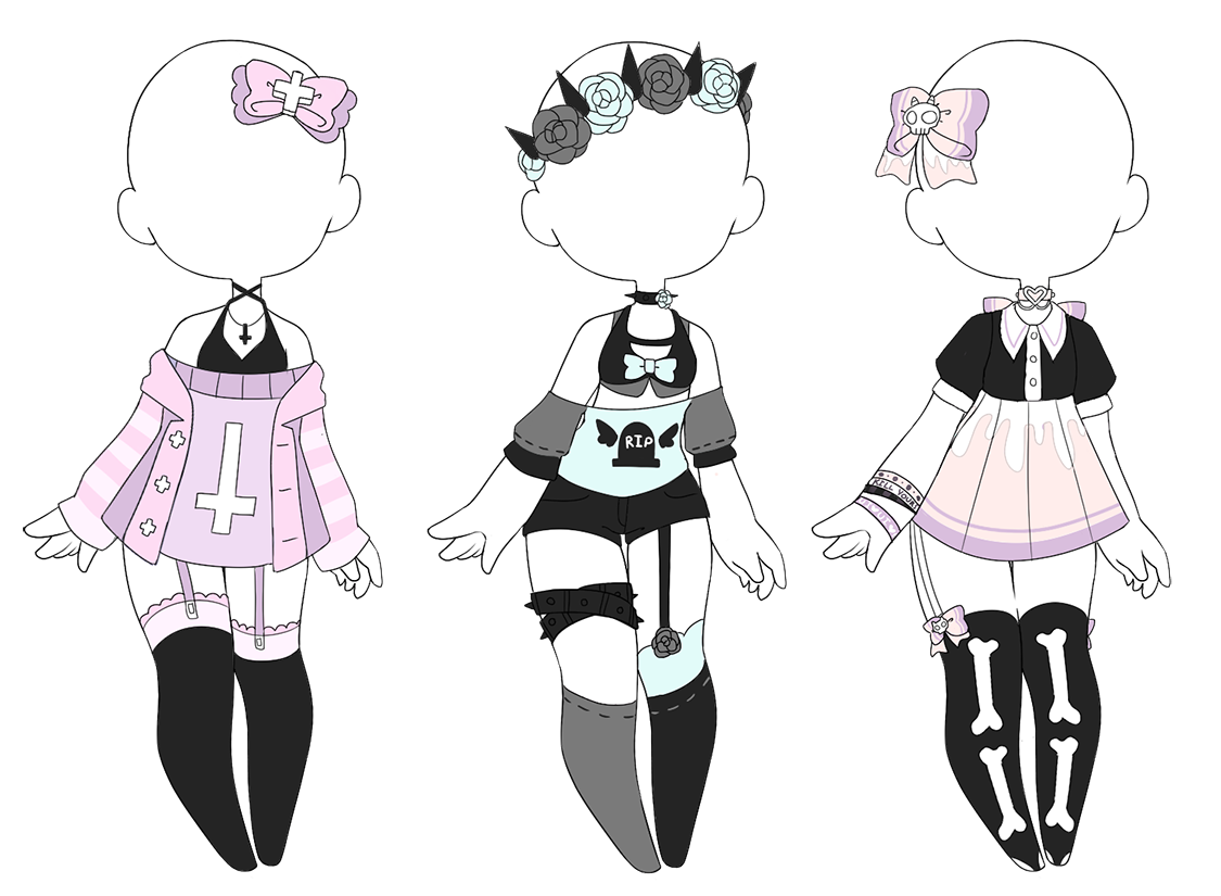 Drawing creepy goth. Pastel outfits closed by