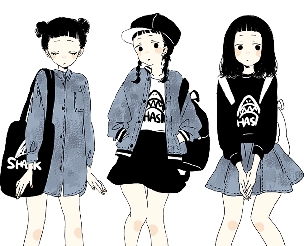 Girls transparent aesthetic. Fashion anime clothing drawing