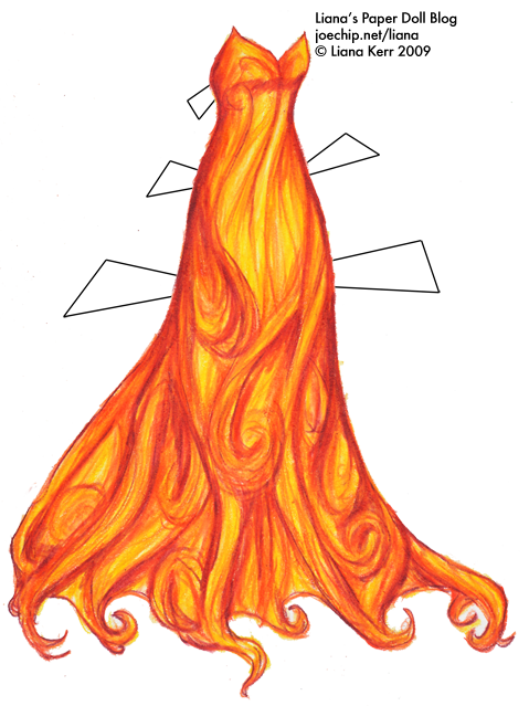Outfits drawing fire. Strapless gown in orange