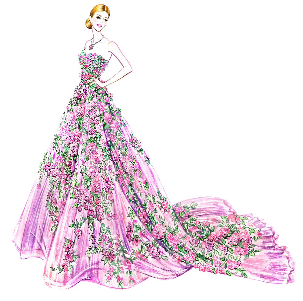 Outfits drawing flower. Fashion illustration illustrator hand
