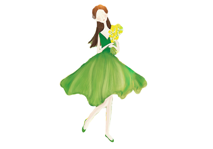 Outfits drawing flower. Girl dress illustration hand