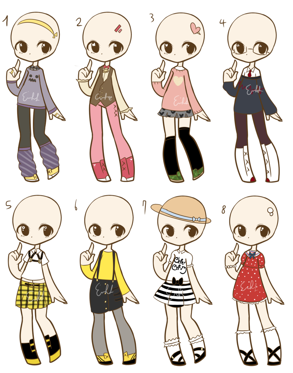 Outfits drawing food. Outfit adopts closed by