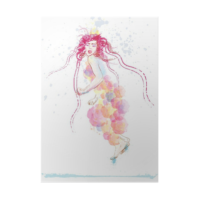 Outfits drawing forest. Woman in summer dress