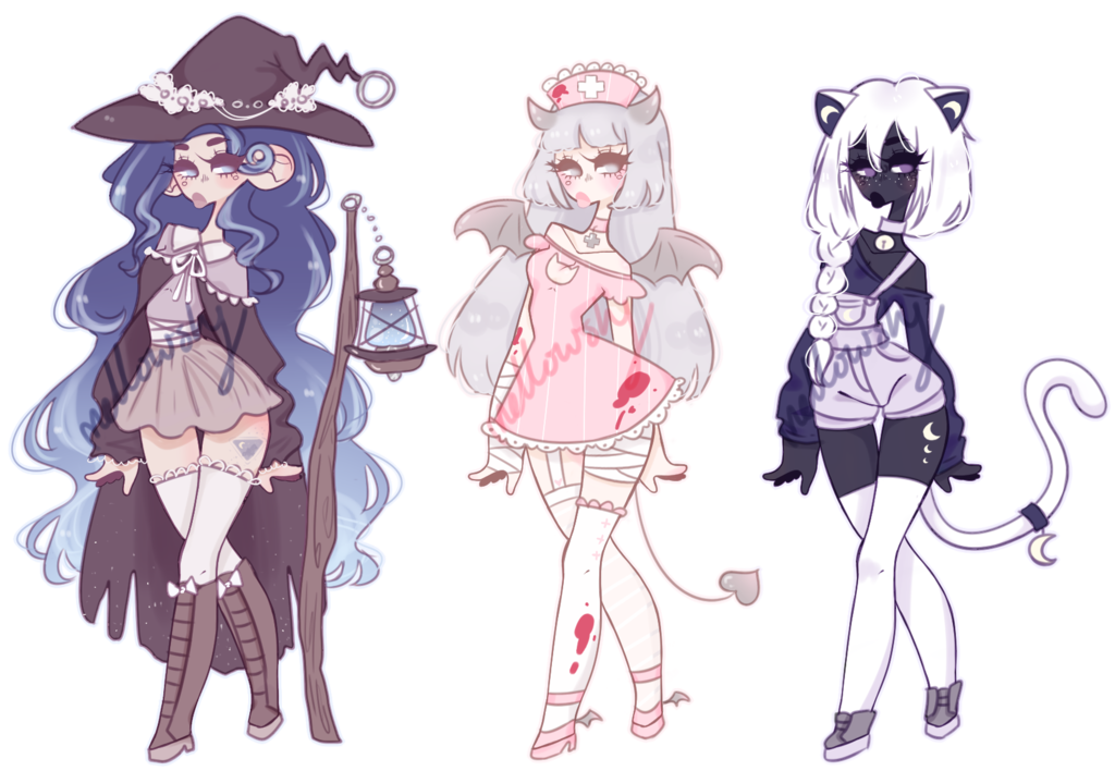 Outfits drawing halloween. Adoptables closed by mellowshy