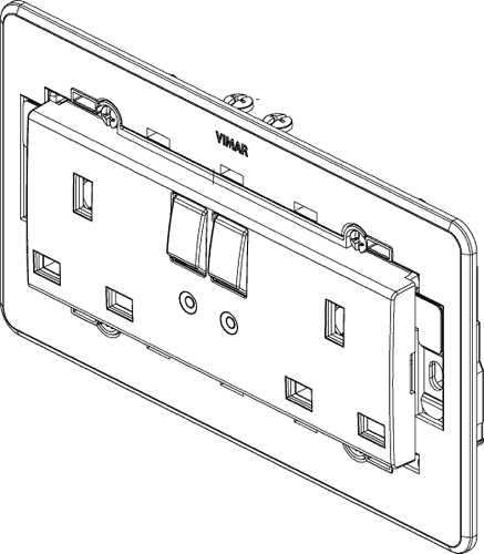 Switch drawing. Controlled socket outlets two