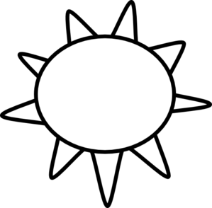 V drawing black and white. Sun outline free clipart