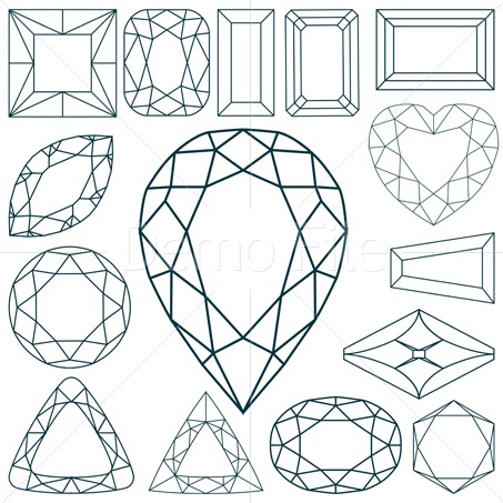 Outline clipart gemstone.