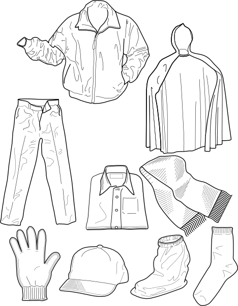Drawing shorts outline. Clothing socks pants jackets
