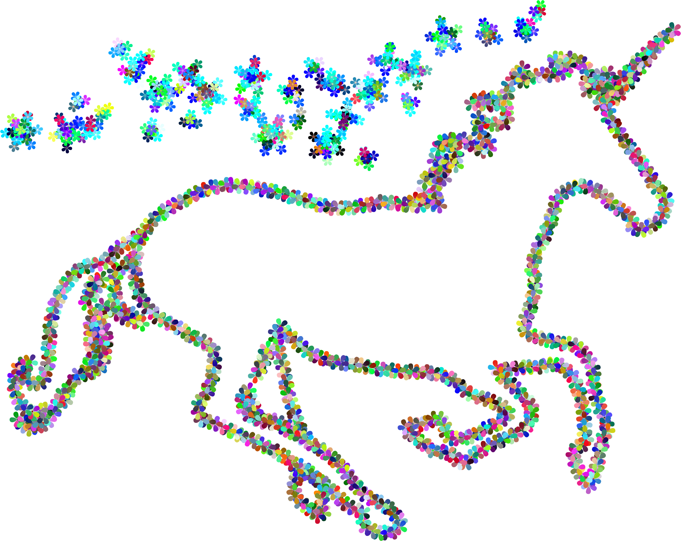 Unicorn clipart floral. Prismatic magical outline big