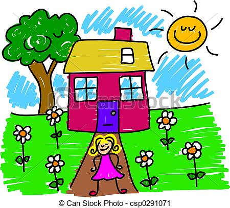 My house little girl. Outside clipart royalty free library