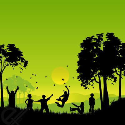 Outside clipart. Free silhouettes of children