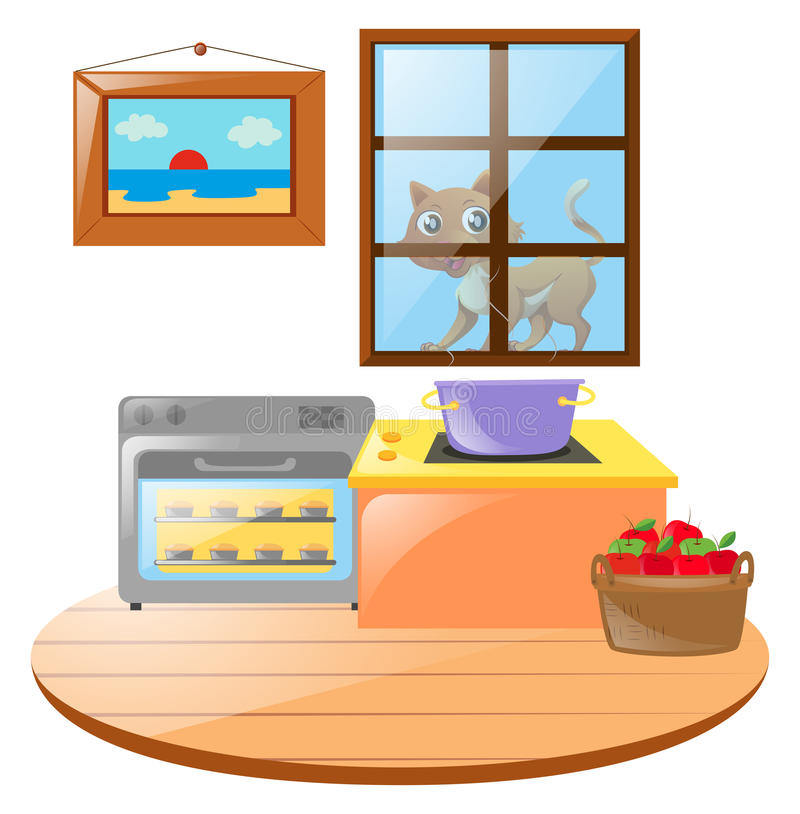Outside clipart kitchen window. Scene with cat the image library download