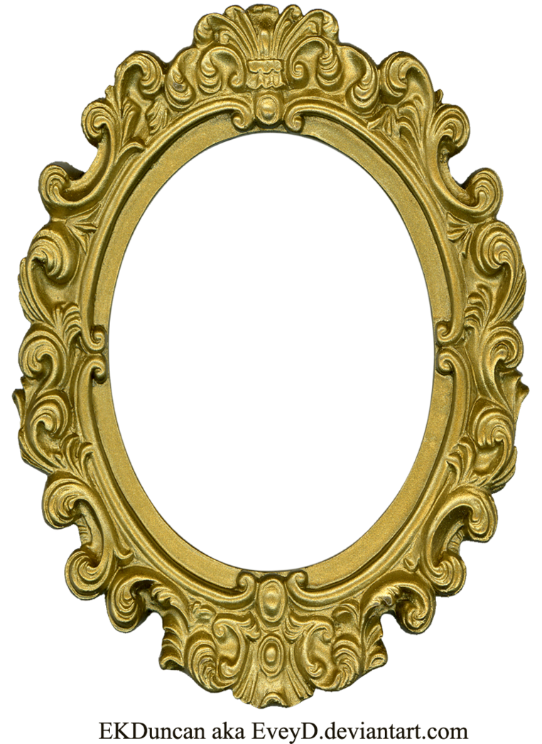 Moldura oval png. Ornate gold frame by