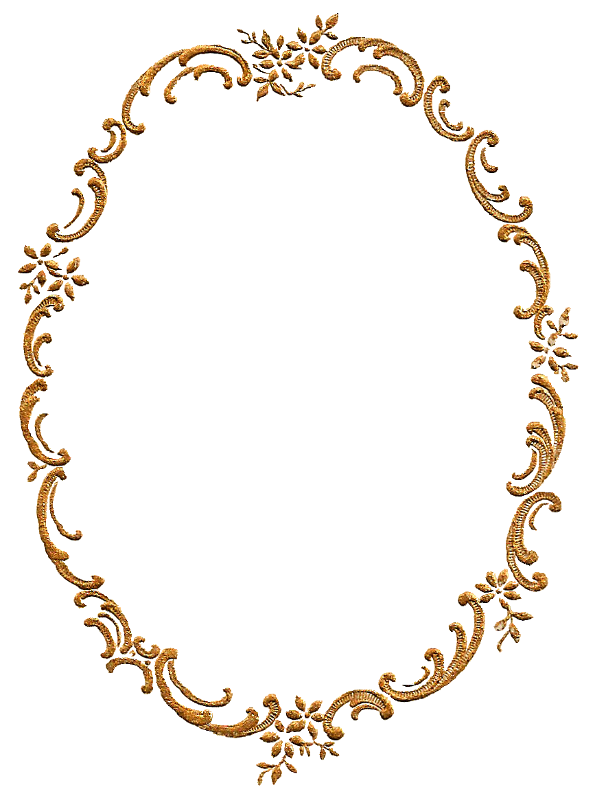 Oval gold frame png. Fancy photo vector clipart