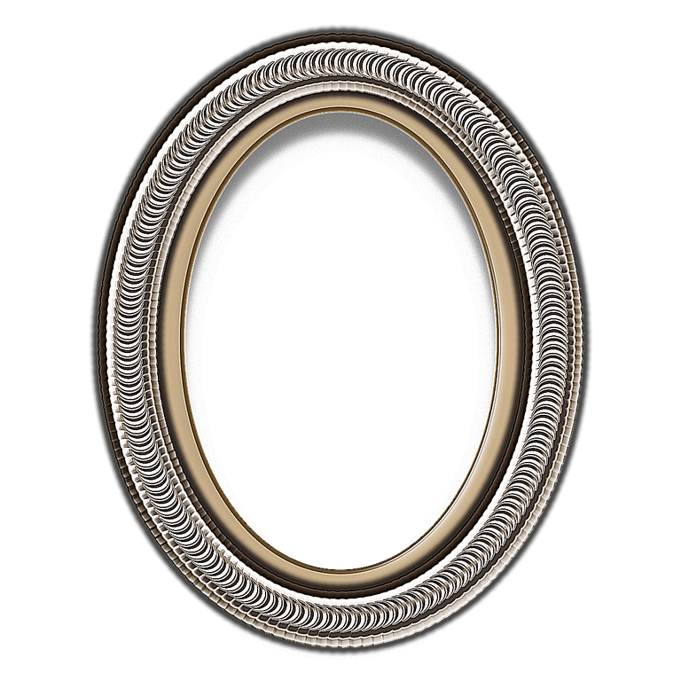 Oval picture frame png. Red curlicue layered psd