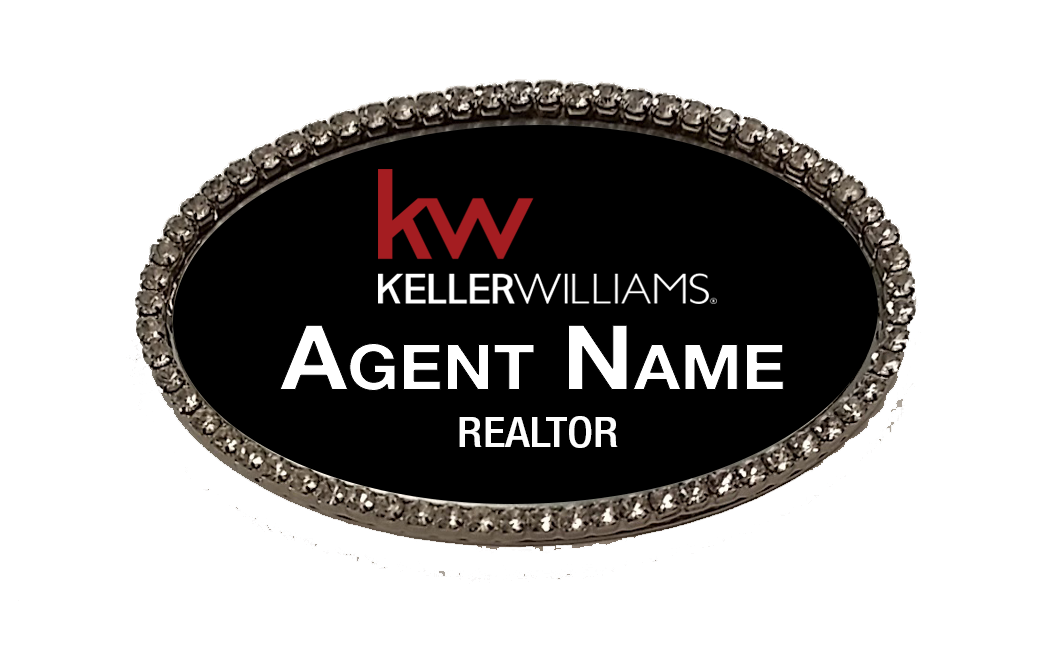 Oval silver labels png. Name badge with black