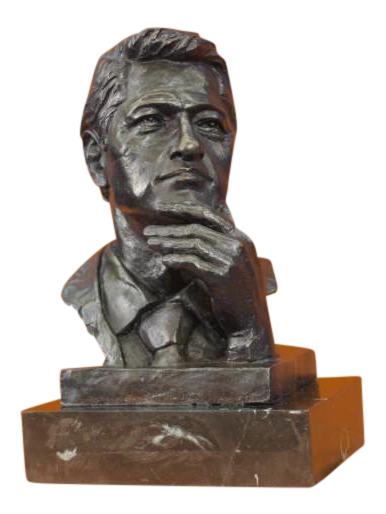 Oval statue base png. President clinton office bronze