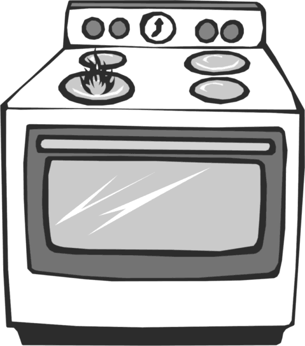 Oven vector cooking range. Black and white clipart