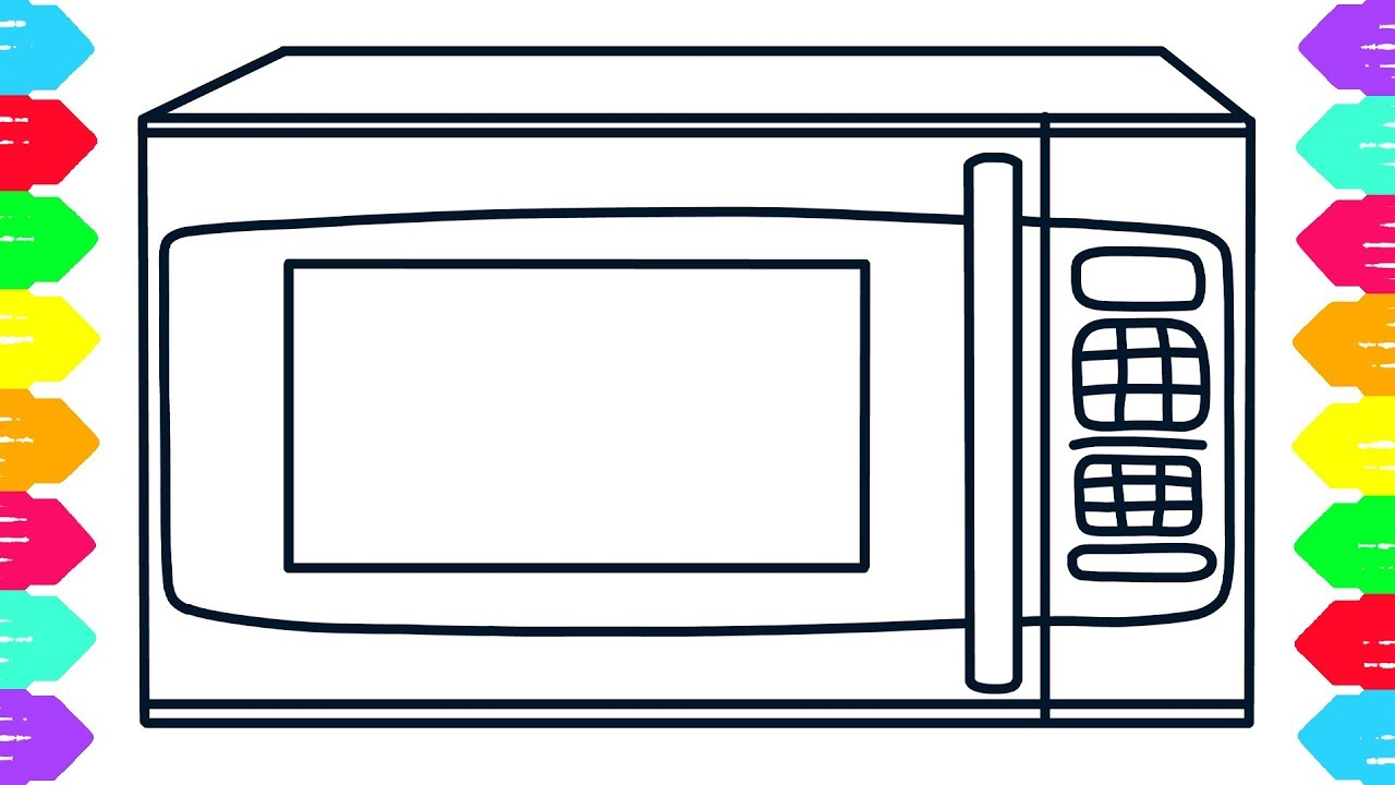 Microwave drawing at getdrawings. Oven clipart coloring page clipart free stock