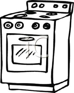 Black and white stove. Oven clipart cooking range png