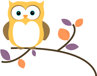 Owl clip art. Images yellow on a
