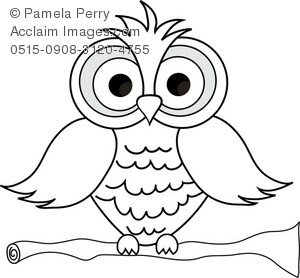 Owl clip art black and white. Illustration of a cartoon